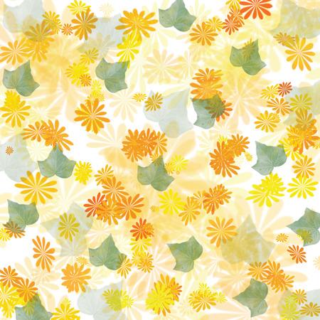 散乱の黄色の花し、葉の背景イラスト