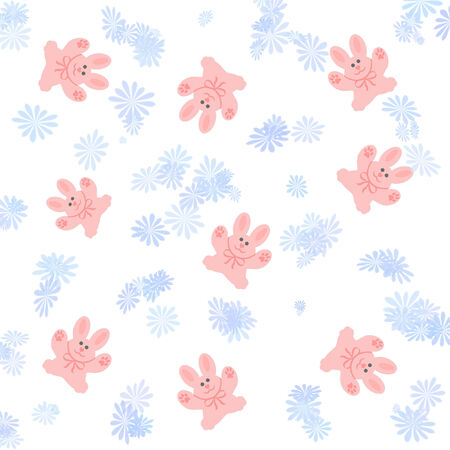 pink bunnies on white with blue flowers illustration