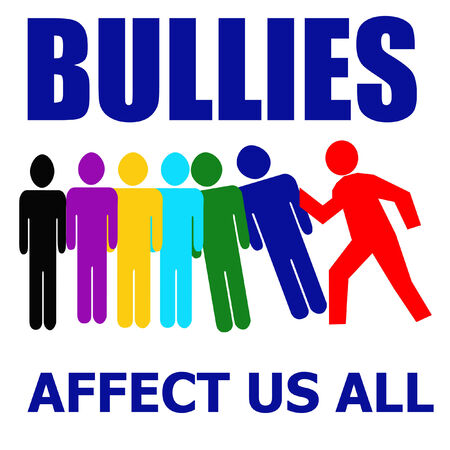 harass: bullies affect us all illustration assorted colors on white