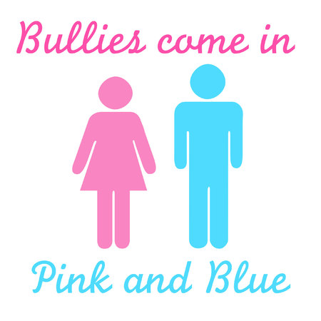 harass: poster bullies come in pink and blue figures Stock Photo