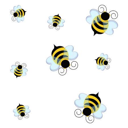 zwart en geel hommels op wit illustratie Stockfoto