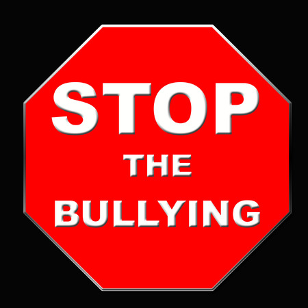 stop sign bullying poster red and black illustration