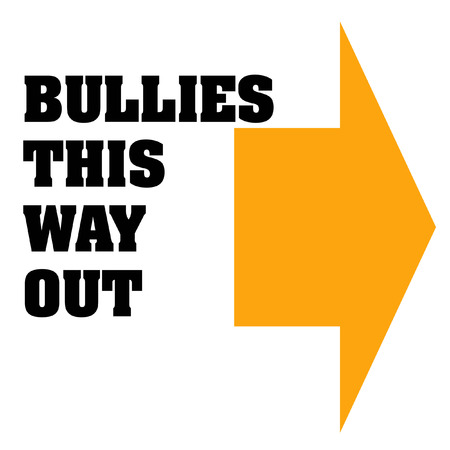 harass: bullies get out poster orange and black illustration