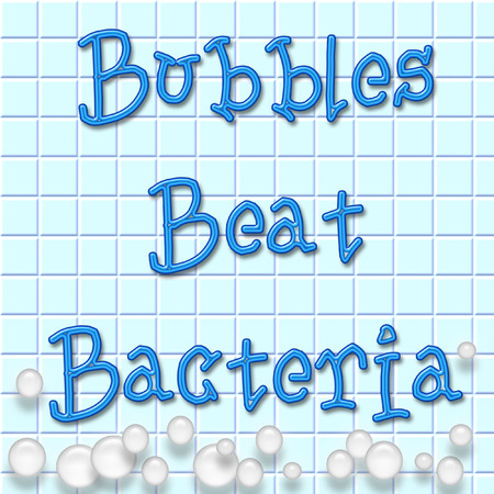 disinfect: soap bubbles on blue tile wall illustration