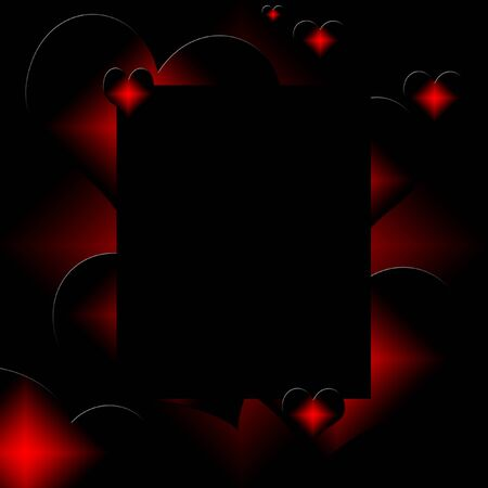 red and black hearts on black background illustration