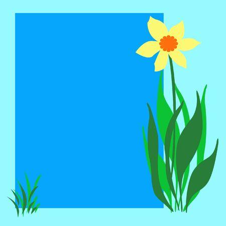 빈 포스터 그림에 노란색 꽃과 잔디