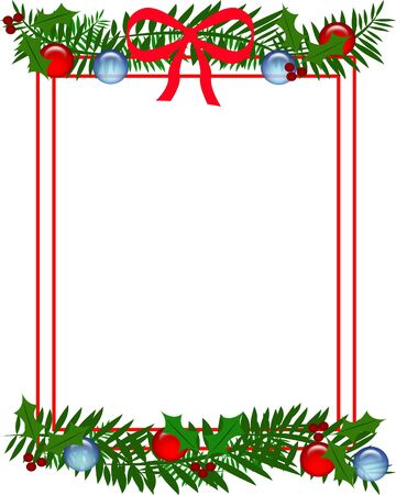 Christmas holly red bow and ornaments frame illustration