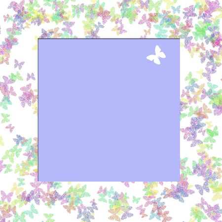 空の中心の図と白で散在してカラフルな蝶 写真素材