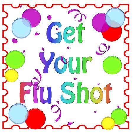 flu shot: flu shot reminder colorful balloons on white background  illustration