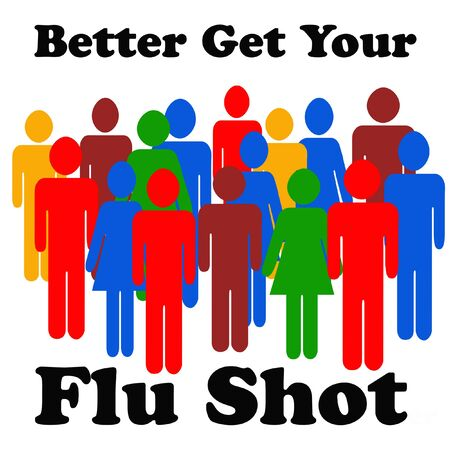 flu shot reminder colorful people on white background  illustration Stock Photo