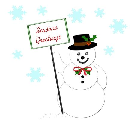 snowman holding a seasons greetings sign illustration