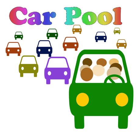 passengers: carpool vehicle with assorted passengers in traffic illustration
