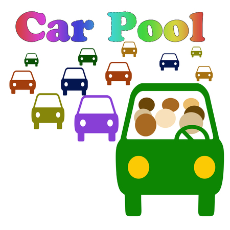 carpool vehicle with assorted passengers in traffic illustration