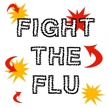 urge: fight the flu, red arrows and words on white illustration