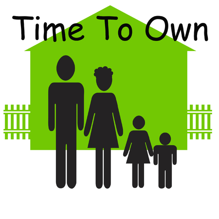 ownership: family figures and house on white background green illustration