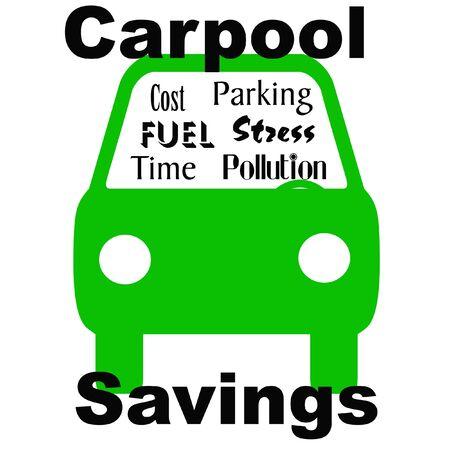 carpool savings green vehicle on white illustration