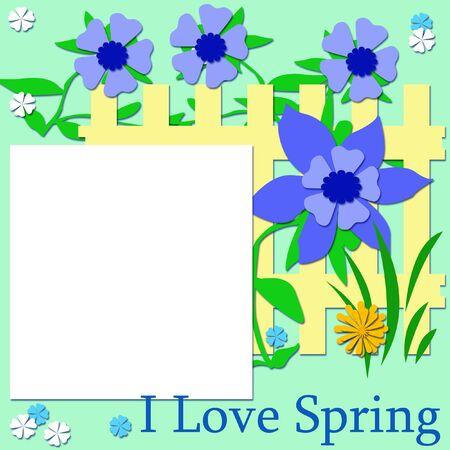 blauwe bloemen en gele hek scrapbook pagina illustratie