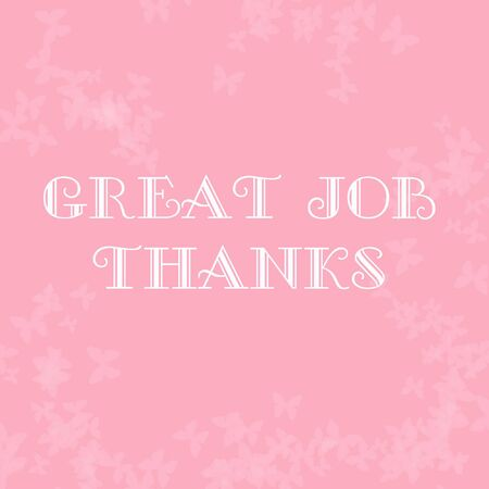 thank you note: pale butterflies scattered on pink thank you note illustration Stock Photo