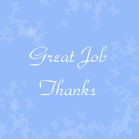 thank you note: pale butterflies scattered on blue thank you note illustration Stock Photo
