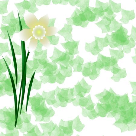 パステル春咲くアイビー背景イラスト