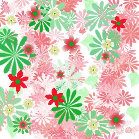 白図にカラフルな春の花が散乱してください。
