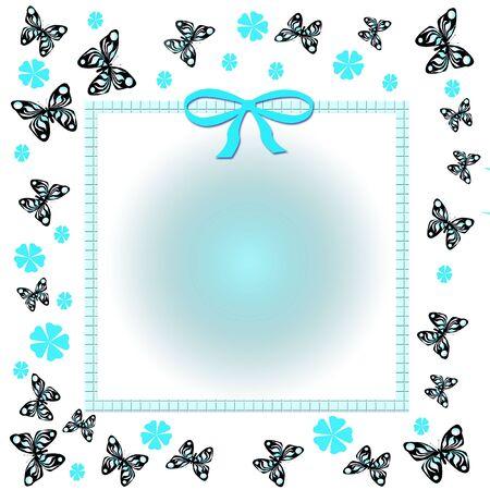 青い春の花散乱し、蝶のフレーム イラスト 写真素材