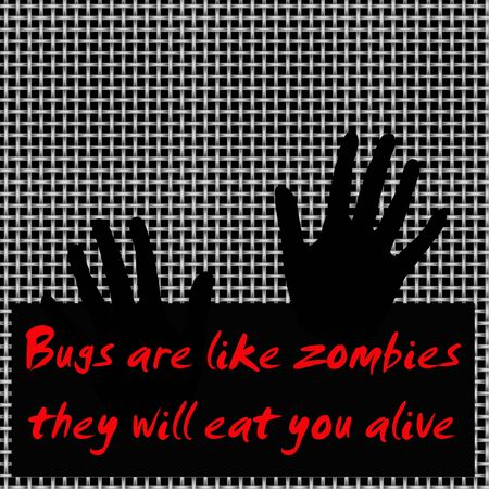 zombie hands on metal mesh screen black and red illustration