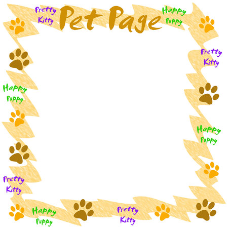 pet scrapbook paw prints on white illustration