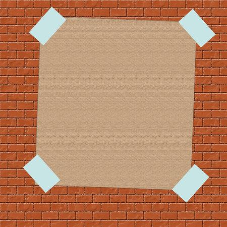 レンガ壁の図にテープで茶色の紙の記号
