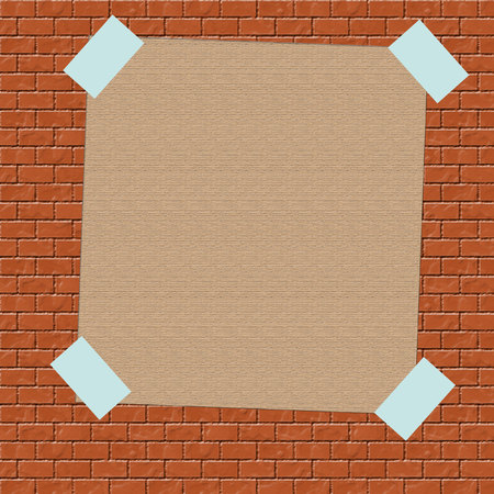 brown paper sign taped to brick wall illustration Reklamní fotografie