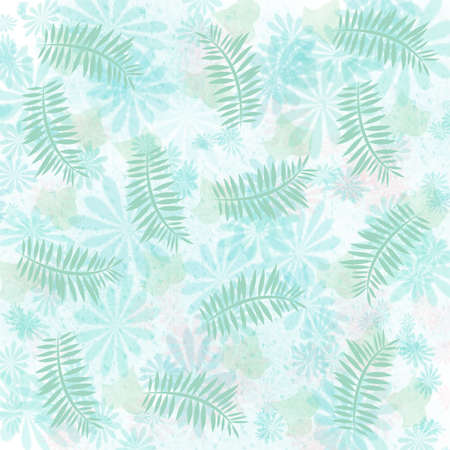 soft teal flowers and pale mint palm background illustration