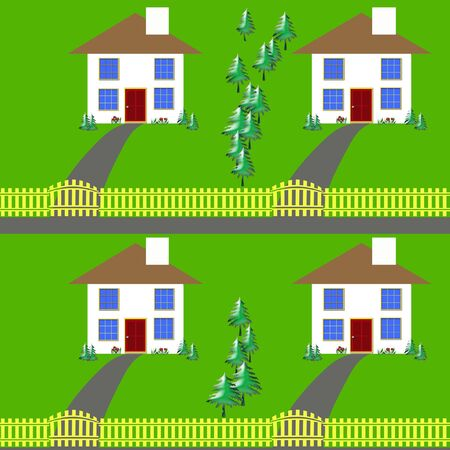 identical houses with yellow fences and green trees illustration Reklamní fotografie