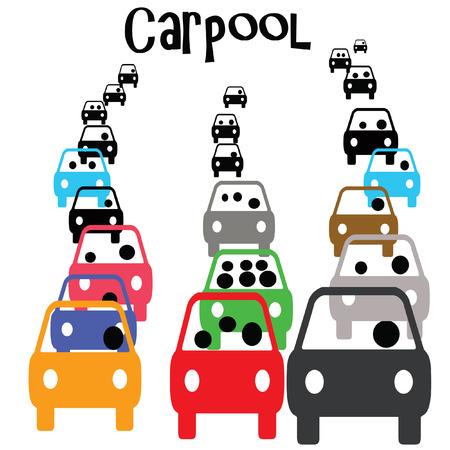 통근 교통 그림에서 녹색 카 풀 차량 스톡 콘텐츠