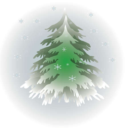 Evergreen tree with snowflakes falling winter illustration