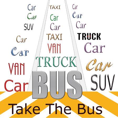 openbaar vervoer poster woorden op witte illustratie Stockfoto