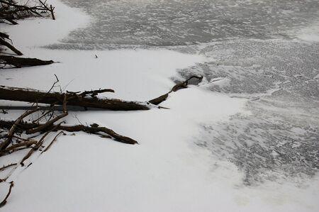 frozen lake stark black and white photograph Imagens