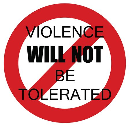 zero violence sign black letters in red circle  on white background illustration