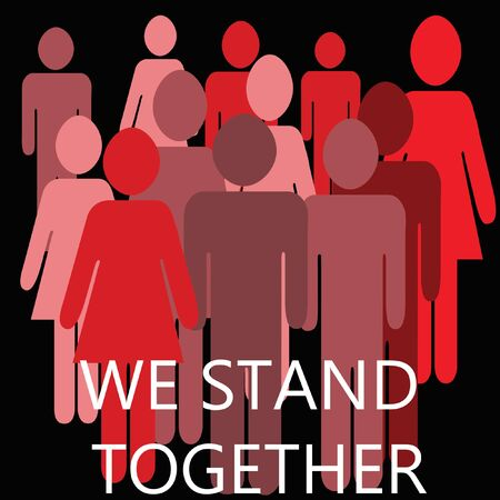 we stand together  pink red and mauve male and female images teamwork illustration