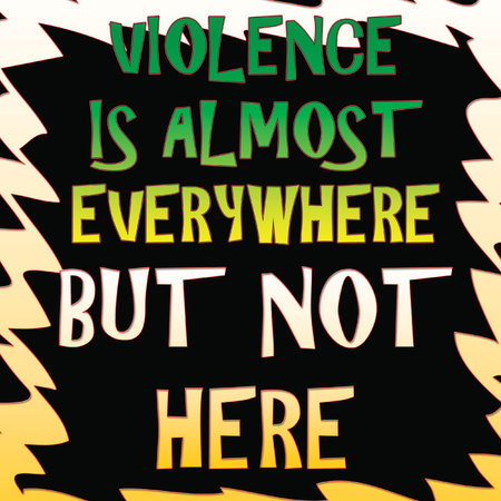 colorful words on black with frame violence is everywhere poster illustration