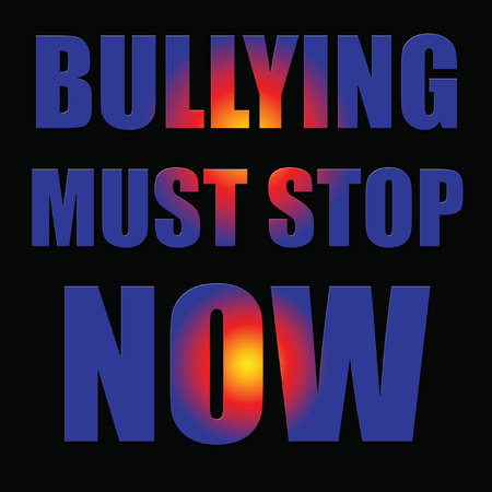 bullying must stop now poster on black background colorful letters