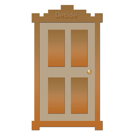 door of decision  with golden doorknob on white poster illustration
