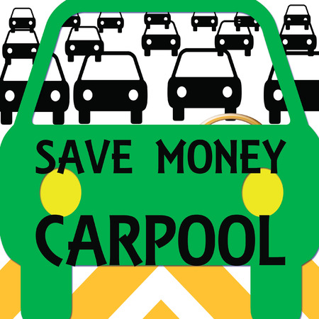 on the road carpool in traffic poster colorful illustration
