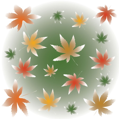 pale autumn maple leaves falling on misty background illustration