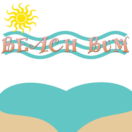 aqua bikini bottom on white background with  golden sun aqua waves  and pink raised letters beach bum poster illustration