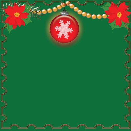 red poinsettias and ornament on green background with gold beads