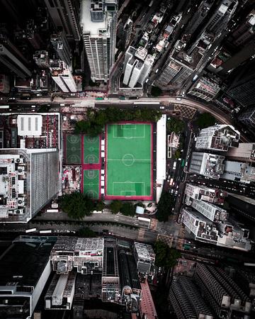 aerial photo of city buildings Фото со стока