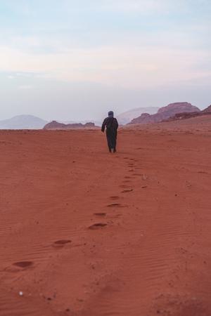 person walking near mountains during daytime