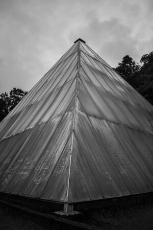 black and white tent 写真素材