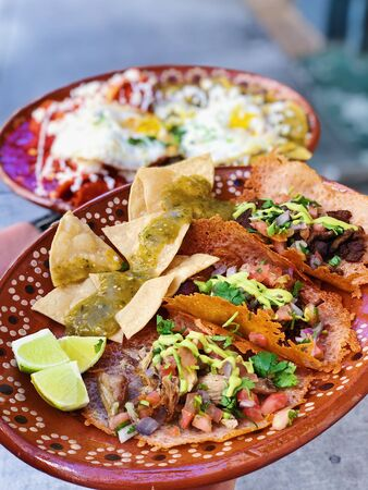 2 plates of mexican food Stock Photo
