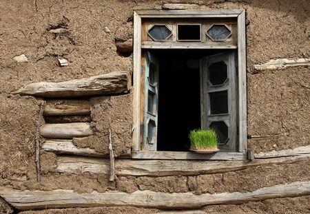 brown wooden framed glass panel door